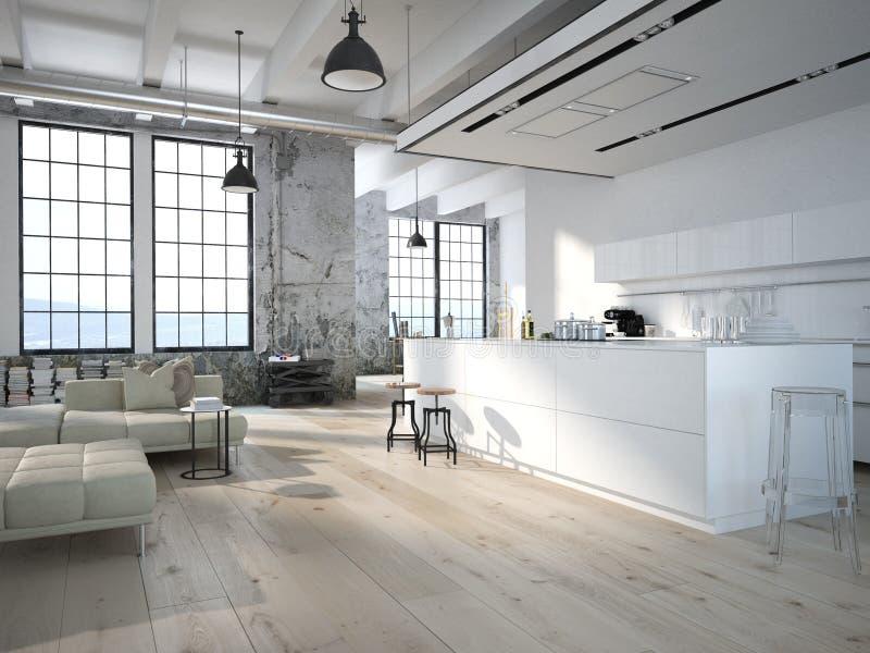 Nowożytny loft z kuchnią świadczenia 3 d ilustracji