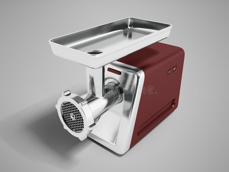 Nowożytny maszynka do mięsa brąz dla szlifierskiej mięsnej perspektywy 3d odpłaca się na szarym tle z cieniem royalty ilustracja