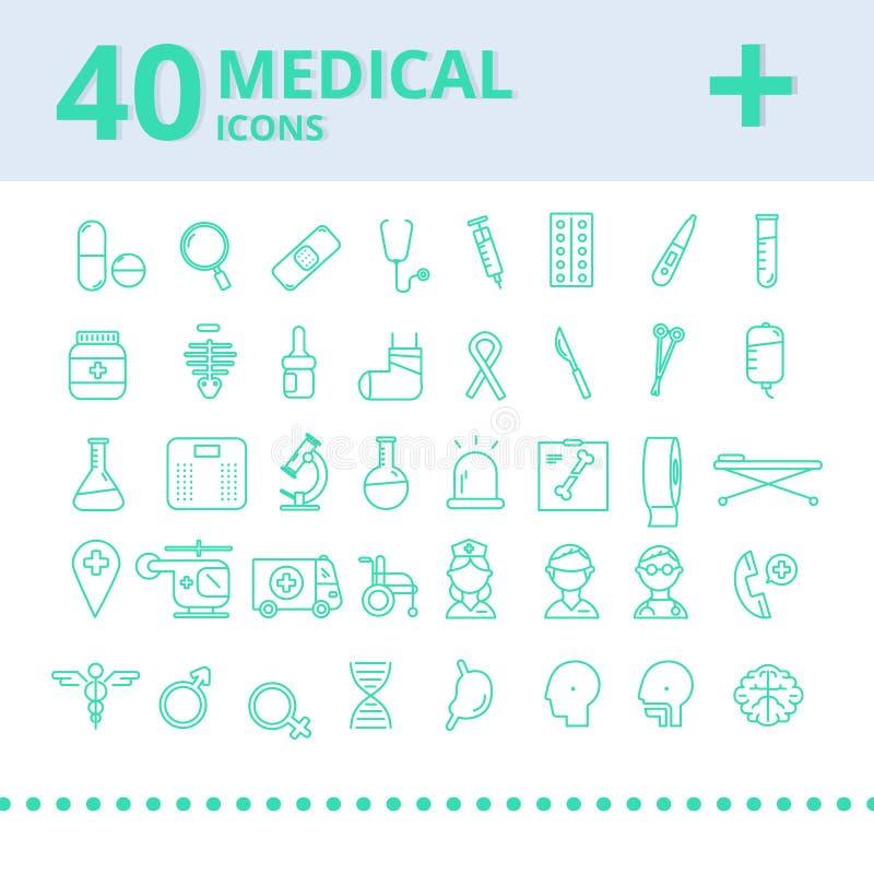 Nowożytny medyczny ikona set ilustratorzy ilustracji