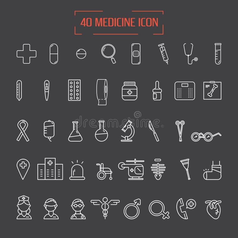 Nowożytny medyczny ikona set ilustratorzy ilustracja wektor