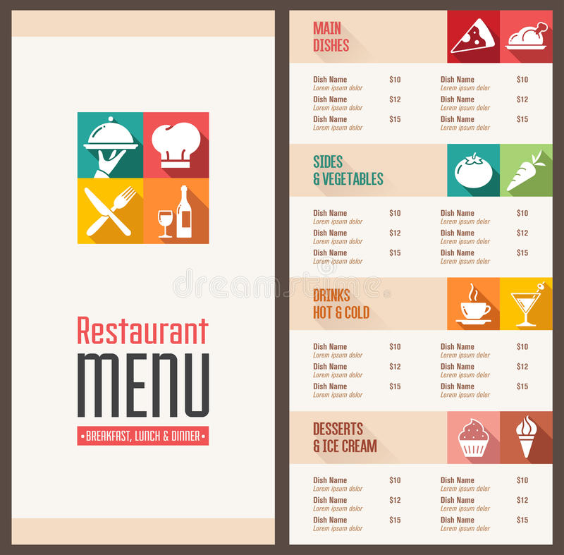Nowożytny menu szablon ilustracja wektor