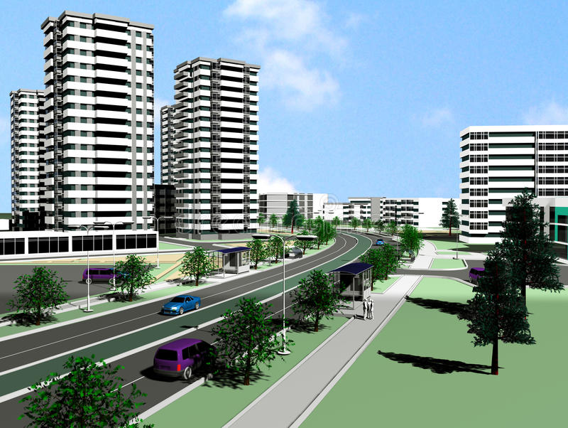nowożytny miasto projekt ilustracji