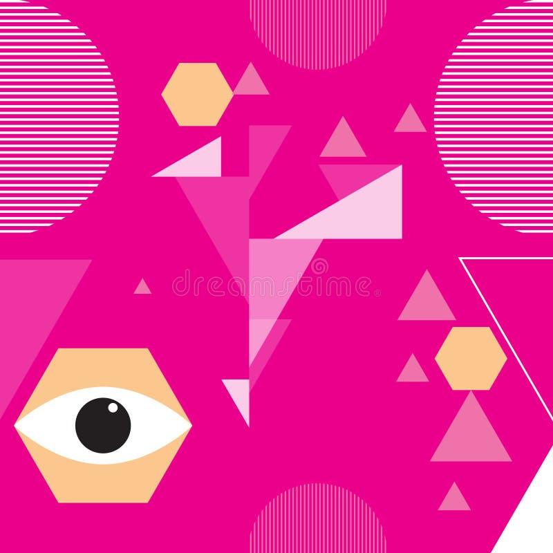 Nowożytny Miastowy abstrakcjonistyczny wektorowy bezszwowy wzór z geometrycznymi elementami, chaotyczni kształty r?wnie? zwr?ci?  royalty ilustracja