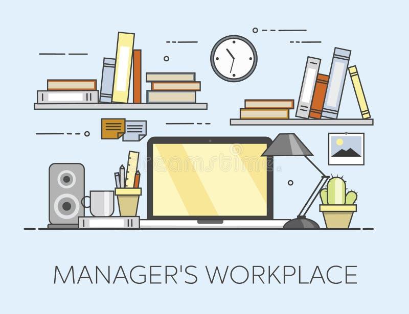 Nowożytny miejsce pracy w biurze Wygodny ministerstwa spraw wewnętrznych wnętrze Managre s miejsce pracy ilustracja wektor