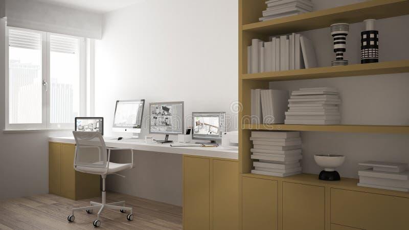 Nowożytny miejsce pracy w minimalisty domu, biurko z komputerami, duży półka na książki, wygodny architektury wnętrze, biały i żó ilustracja wektor