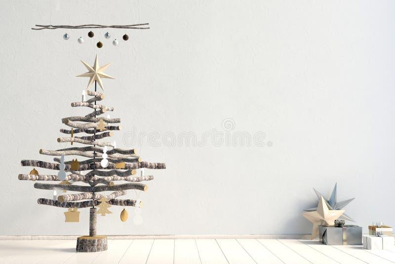 Nowożytny minimalistic Bożenarodzeniowy wnętrze, skandynawa styl ilustracji