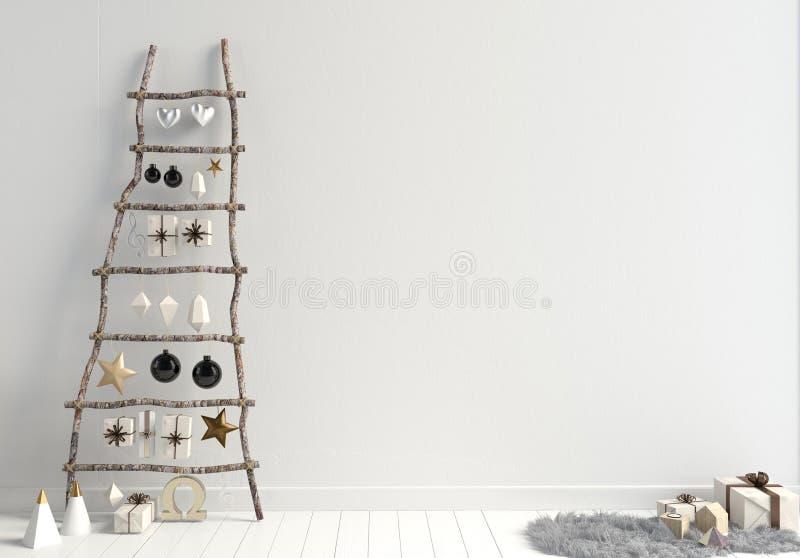 Nowożytny minimalistic Bożenarodzeniowy wnętrze, skandynawa styl 3D ja ilustracji
