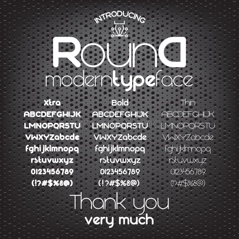 Nowożytny minimalistic sans serif chrzcielnica Round royalty ilustracja