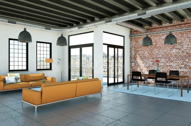 Nowożytny minimalistyczny żywy izbowy wnętrze w loft projekta stylu z kanapami royalty ilustracja