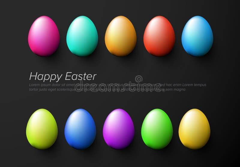 Nowożytny minimalistyczny kolorowy szczęśliwy Easter karty szablon ilustracja wektor