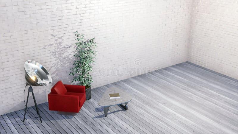 Nowożytny minimalistyczny loft lub kreatywnie pracowniany wnętrze ilustracji