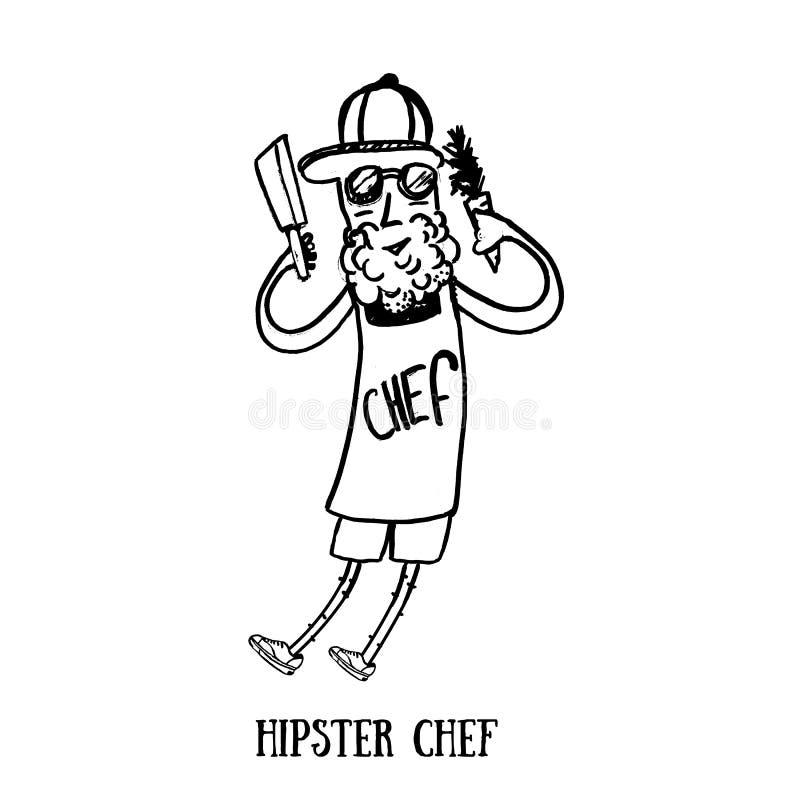 Nowożytny modnisia szef kuchni z brodą i nóż w rękach Grunge kucharz odizolowywający na bielu również zwrócić corel ilustracji we ilustracja wektor