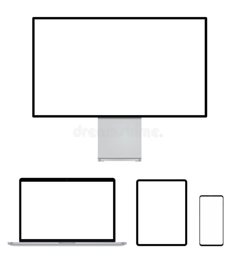 Nowożytny monitor, komputer, laptop, telefon, pastylka dla mockup ilustracja wektor