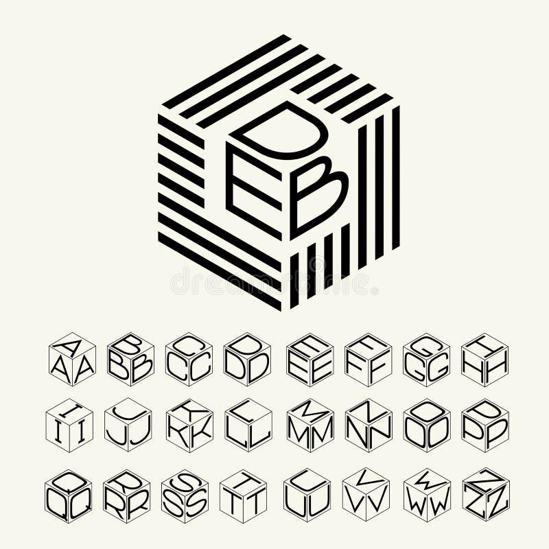 Nowożytny monograma sześcian, sześciokąt paski i trzy listu wpisującego, Plus set listy tworzyć loga ilustracja wektor