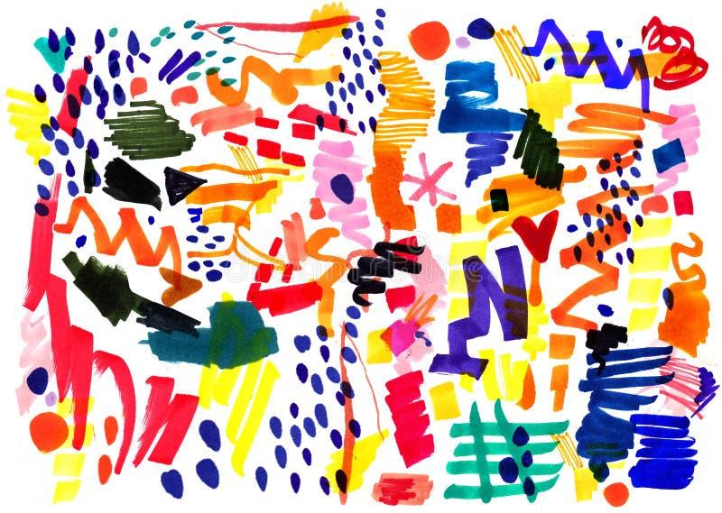 Nowożytny multicolor futurystyczny wystrzał sztuki wzór Jaskrawego koloru abstrakcjonistyczny obraz w Neo Memphis stylu ilustracja wektor