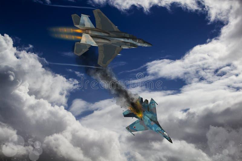Nowożytny myśliwski dogfight ilustracji