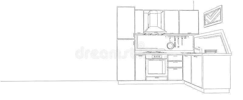 Nowożytny narożnikowy kuchnia konturu nakreślenie czarny i biały royalty ilustracja