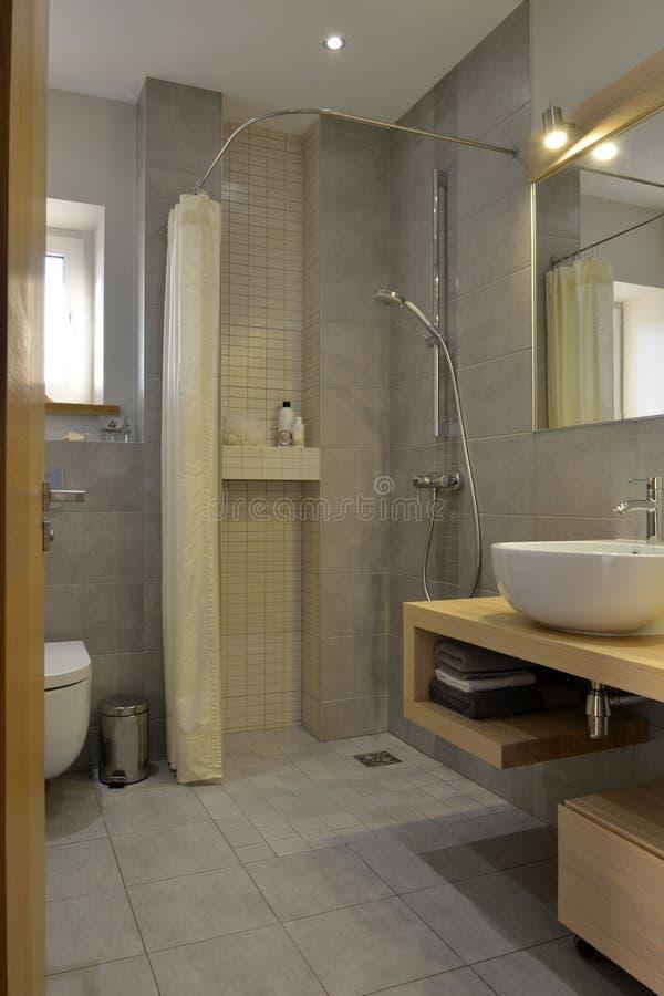 Nowożytny neutralny łazienka projekt Prysznic, washbasin, lustro, toaleta, naturalny drewniany meble, drzwiowy szczegół zdjęcia royalty free