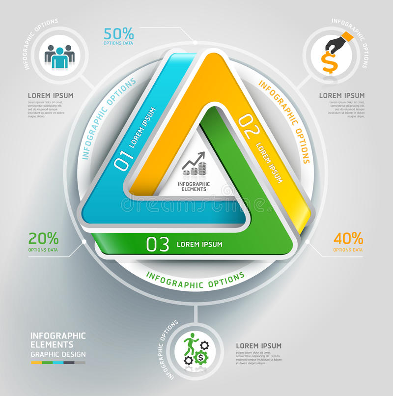 Nowożytny nieskończony trójboka 3d diagrama biznes. royalty ilustracja