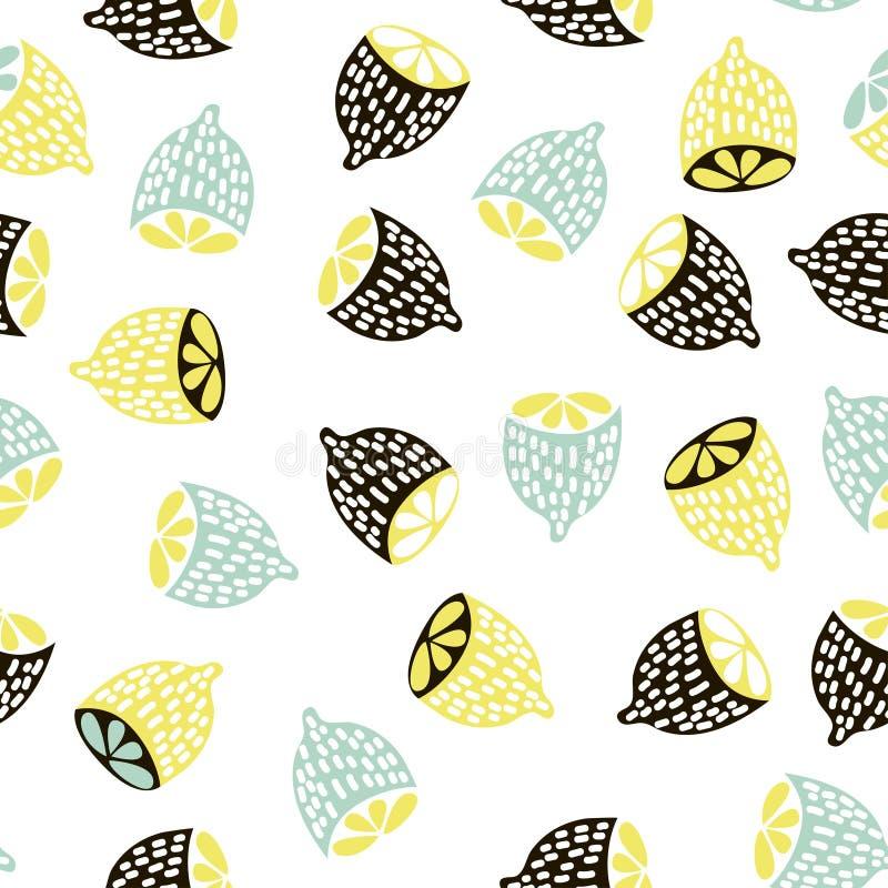 Nowożytny owocowy bezszwowy wzór Tło z cytrynami Wielki dla dzieciaków tkanina, tkanina, etc, również zwrócić corel ilustracji we ilustracja wektor