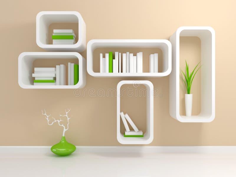 nowożytny półka na książki biel ilustracji