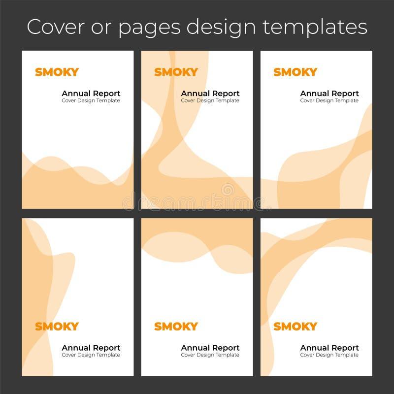 Nowożytny płaski falisty i dymiący pomarańczowy broszurka okładkowego szablonu projekt royalty ilustracja