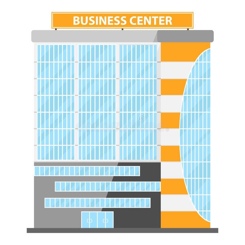 Nowożytny Płaski Handlowy biuro Centrum biznesu, centrum biznesu ikona, buduje royalty ilustracja