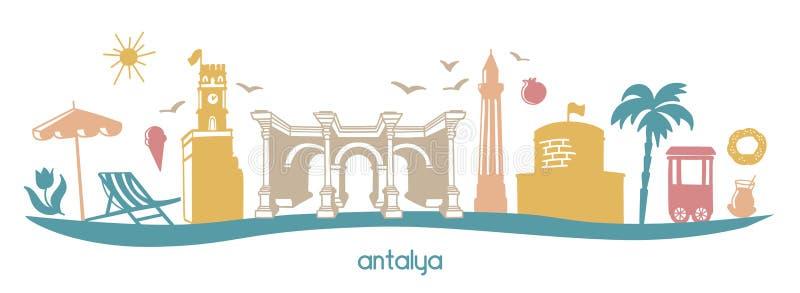 Nowożytny płaski ilustracyjny Antalya, Turcja z ręka rysującymi doodle tureckimi symbolami w pastelowych kolorach royalty ilustracja