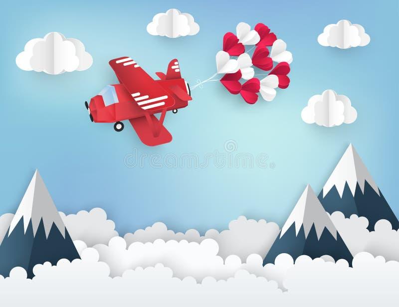 Nowożytny papierowy sztuki origami tło 3d samolotowy czerwony biel ilustracja wektor