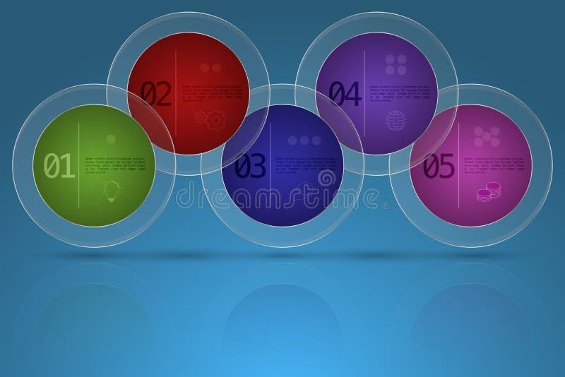 Nowożytny pięć kroków linii czasu biznesowy infographics w zaokrąglonym shap ilustracji