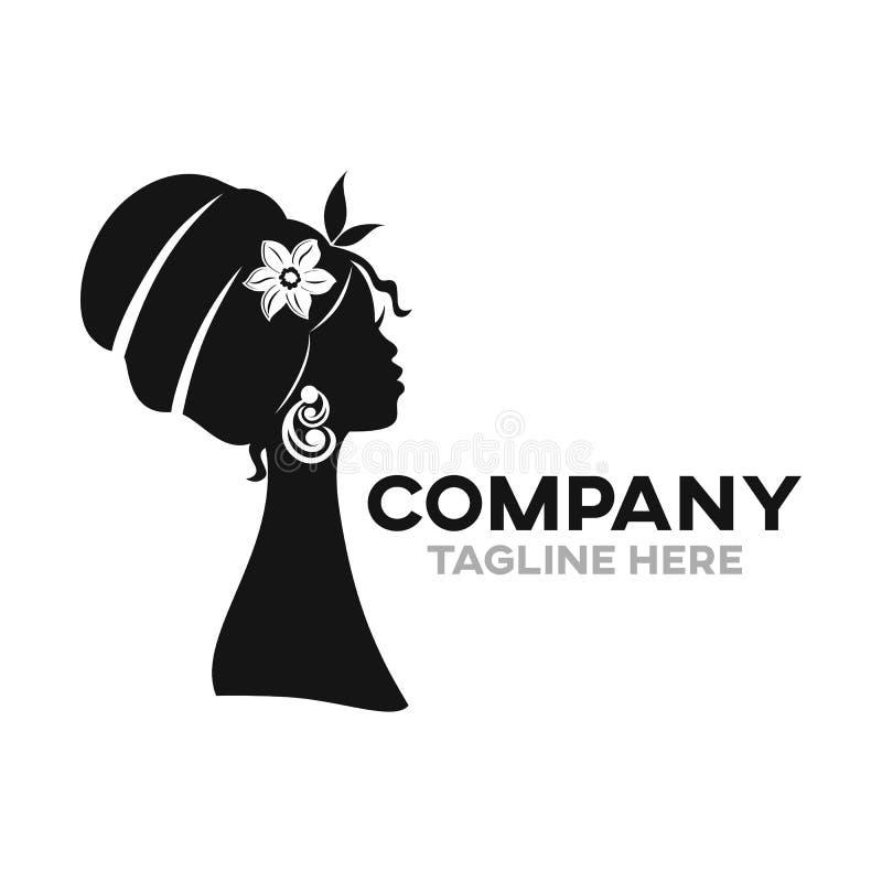 Nowożytny piękny Afrykański kobieta logo ilustracji