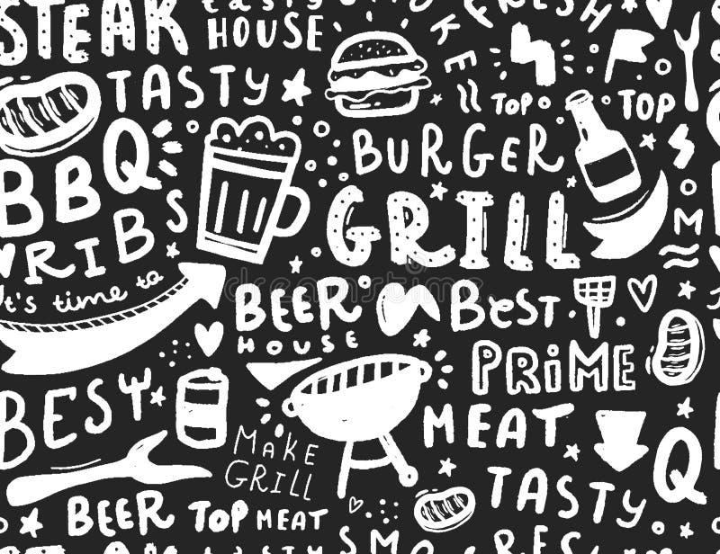 Nowożytny pisze list bbq bezszwowy wzór Grill karmowa ilustracja dla menu projekta royalty ilustracja