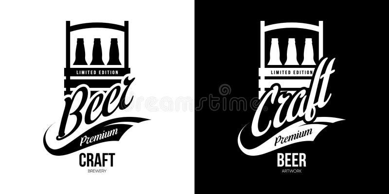 Nowożytny piwny napój odizolowywający rzemiosło loga wektorowy znak dla browaru, pubu, brewhouse lub baru, ilustracja wektor