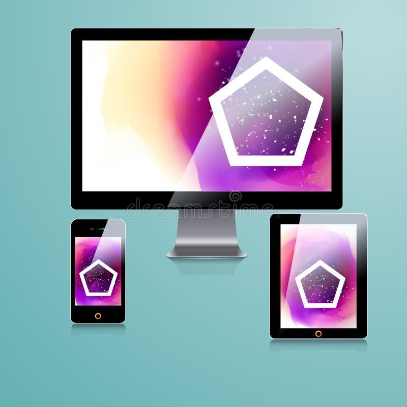 Nowożytny podaniowy szablonu projekt dla korporacyjnej tożsamości Komputerowy pastylki i telefonu set fotografia stock
