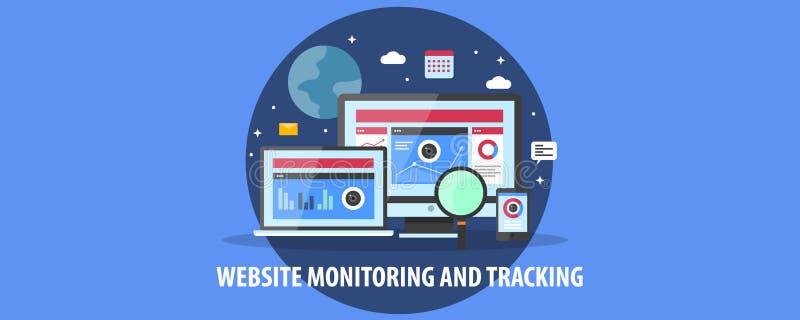 Nowożytny pojęcie strony internetowej monitorowanie, użytkownika zachowanie tropi, dane analiza Płaski projekta wektoru sztandar ilustracji
