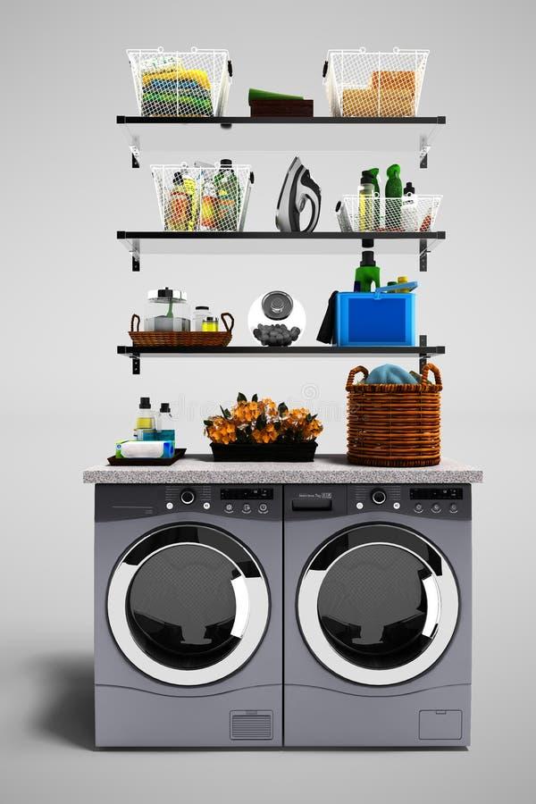 Nowożytny pojęcie ustawiający z osuszką odzieżową i pralką dla w ilustracji