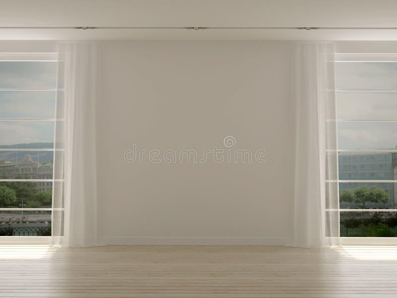 Nowożytny pokój z dwa wielkimi okno zdjęcie stock