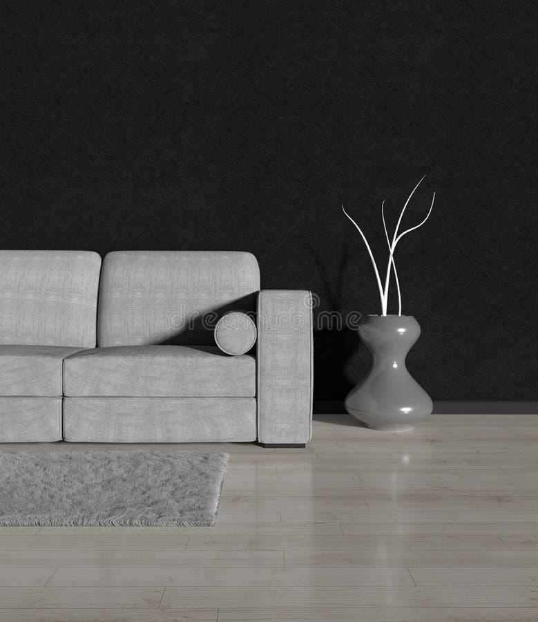 Nowożytny pokój z szarą kanapą fotografia royalty free