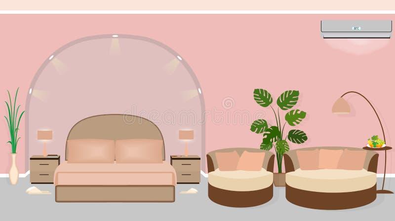 Nowożytny pokoju hotelowego wnętrze z houseplants, kanapą i backlight, ilustracja wektor