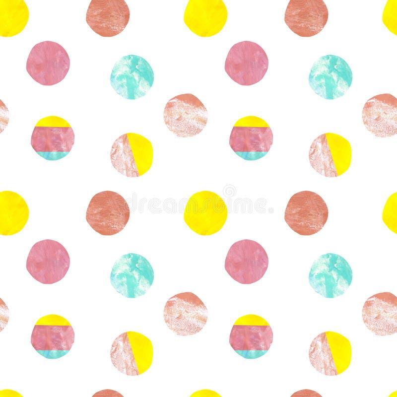 Nowożytny polki kropki bezszwowy wzór Pastelowych kolorów ręka malował kropki na białym tle kolorowa powierzchni royalty ilustracja