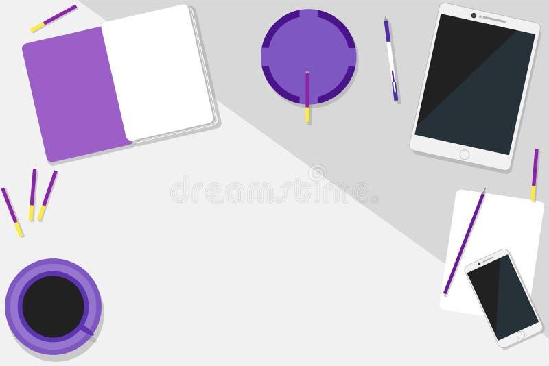 Nowożytny pozafioletowy workspace z przestrzenią dla teksta ilustracja wektor