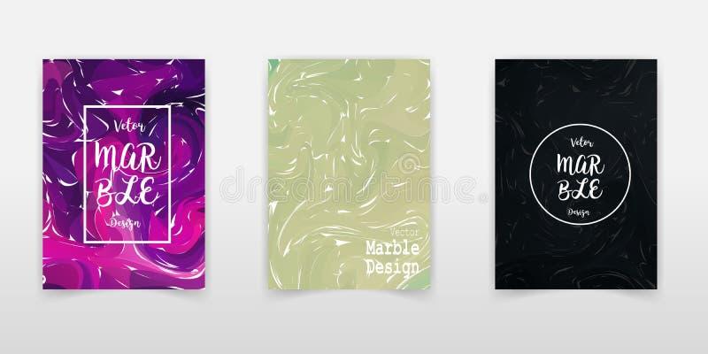 Nowożytny projekt A4 Abstrakt marmurowa tekstura barwiony jaskrawy ciecz maluje Pluśnięcie trendów farby U?ywa? projekt prezentac ilustracja wektor