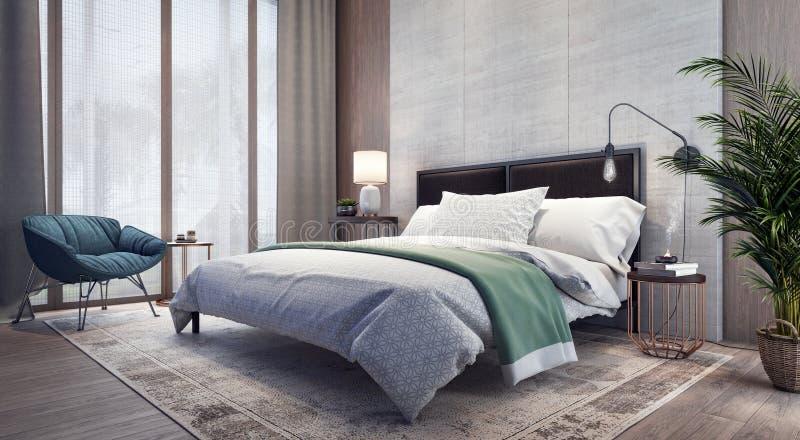 Nowożytny projekt sypialni wnętrze ilustracja wektor
