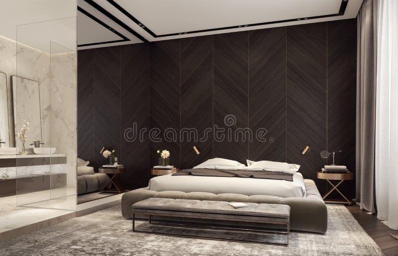 Nowożytny projekt sypialnia z łazienką zdjęcie royalty free