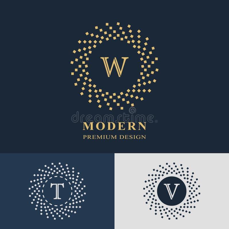 nowożytny projekta logo Geometryczny liniowy monograma szablon Listowy emblemat W, T, V Mark odróżnienie Ogólnoludzki biznesu zna ilustracji