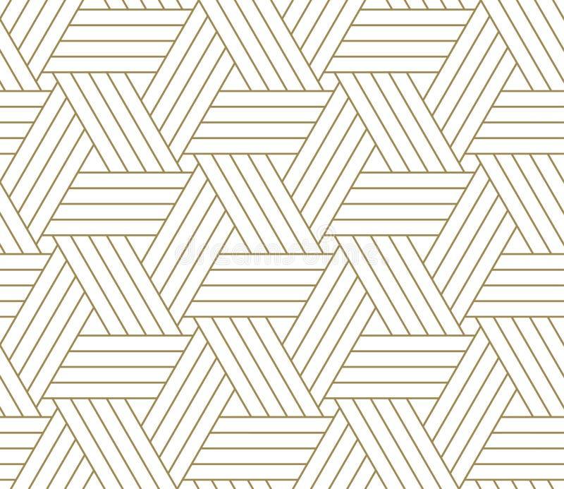 Nowożytny prosty geometryczny wektorowy bezszwowy wzór z złoto linii teksturą na białym tle Lekka abstrakcjonistyczna tapeta ilustracji
