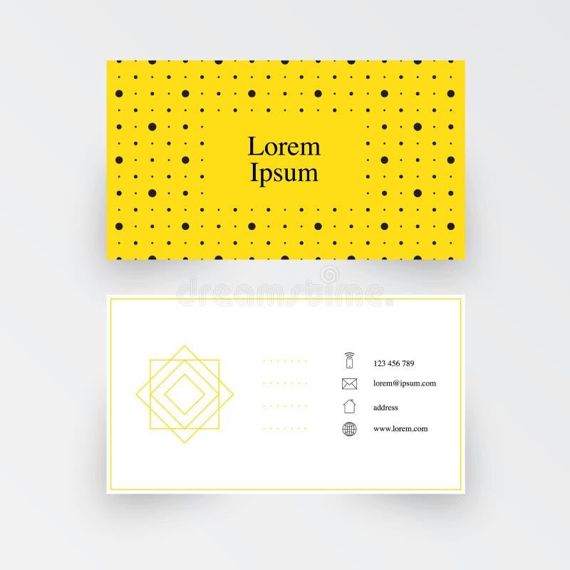 Nowożytny prosty wizytówka szablon, geometryczny wzór, żółty tło ilustracji