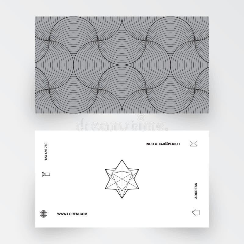 Nowożytny prosty wizytówka szablon, geometryczny wzór royalty ilustracja