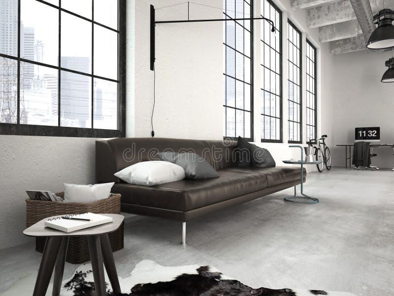 Nowożytny przemysłowy loft świadczenia 3 d zdjęcie stock