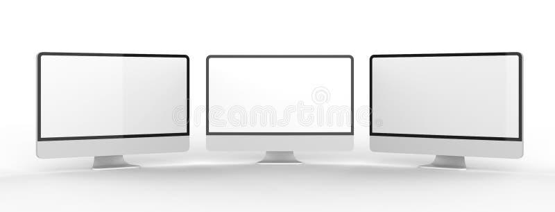 Nowożytny pusty monitoru ekran na białym tle 3d bolączka royalty ilustracja